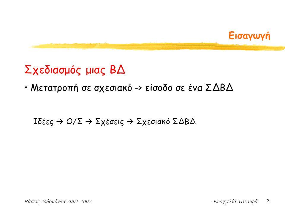 Βάσεις Δεδομένων 2001-2002 Ευαγγελία Πιτουρά 2 Εισαγωγή Σχεδιασμός μιας ΒΔ Μετατροπή σε σχεσιακό -> είσοδο σε ένα ΣΔΒΔ Ιδέες  Ο/Σ  Σχέσεις  Σχεσιακό ΣΔΒΔ