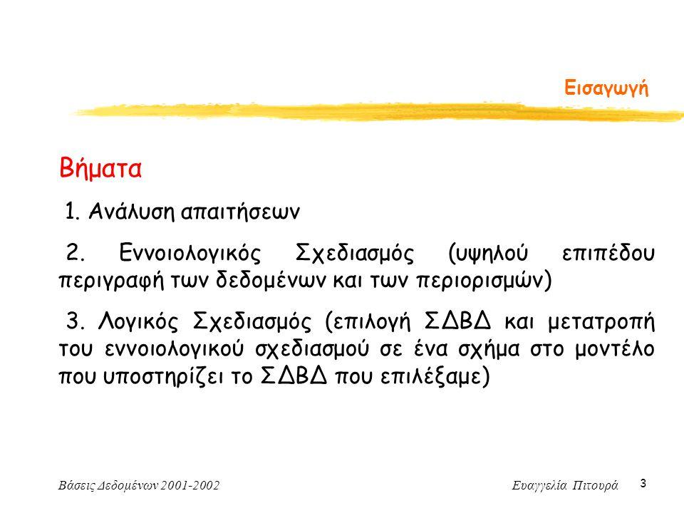 Βάσεις Δεδομένων 2001-2002 Ευαγγελία Πιτουρά 24 Λόγος Πληθικότητας Για πολλαπλές συσχετίσεις ΗθοποιόςΤαινία Κινηματογραφική Εταιρεία Συμβόλαιο Αν το βέλος δείχνει στο Ε, αυτό σημαίνει ότι αν επιλέξουμε μια οντότητα από καθένα από τα άλλα σύνολα οντοτήτων, αυτές συσχετίζονται με μια μοναδική οντότητα του Ε Περιορισμός; (συναρτησιακές εξαρτήσεις!)