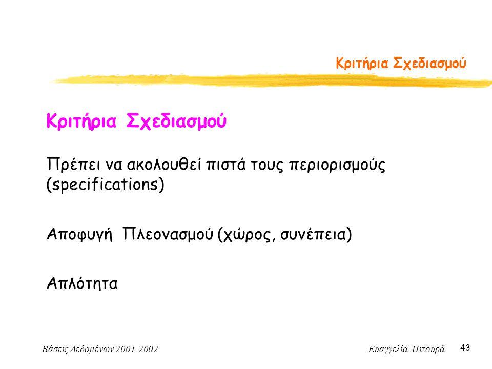Βάσεις Δεδομένων 2001-2002 Ευαγγελία Πιτουρά 43 Κριτήρια Σχεδιασμού Πρέπει να ακολουθεί πιστά τους περιορισμούς (specifications) Αποφυγή Πλεονασμού (χώρος, συνέπεια) Απλότητα
