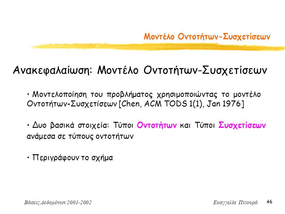 Βάσεις Δεδομένων 2001-2002 Ευαγγελία Πιτουρά 46 Μοντέλο Οντοτήτων-Συσχετίσεων Ανακεφαλαίωση: Μοντέλο Οντοτήτων-Συσχετίσεων Μοντελοποίηση του προβλήματος χρησιμοποιώντας το μοντέλο Οντοτήτων-Συσχετίσεων [Chen, ACM TODS 1(1), Jan 1976] Δυο βασικά στοιχεία: Τύποι Οντοτήτων και Τύποι Συσχετίσεων ανάμεσα σε τύπους οντοτήτων Περιγράφουν το σχήμα