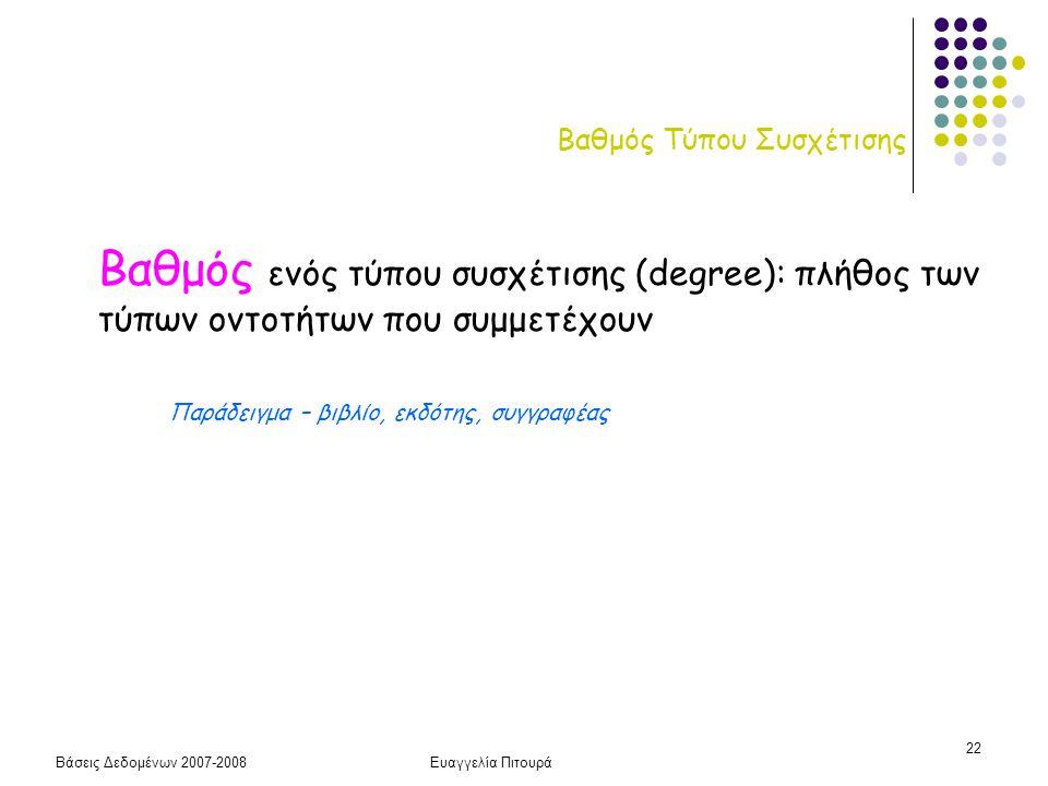 Βάσεις Δεδομένων 2007-2008Ευαγγελία Πιτουρά 22 Βαθμός Τύπου Συσχέτισης Βαθμός ενός τύπου συσχέτισης (degree): πλήθος των τύπων οντοτήτων που συμμετέχο