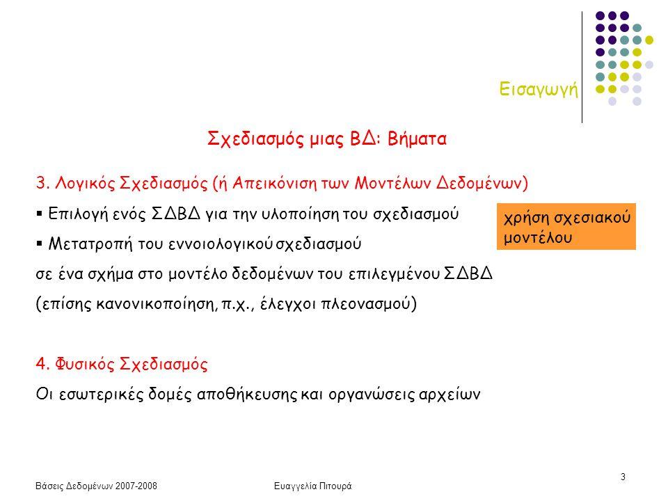 Βάσεις Δεδομένων 2007-2008Ευαγγελία Πιτουρά 3 Εισαγωγή Σχεδιασμός μιας ΒΔ: Βήματα 3. Λογικός Σχεδιασμός (ή Απεικόνιση των Μοντέλων Δεδομένων)  Επιλογ