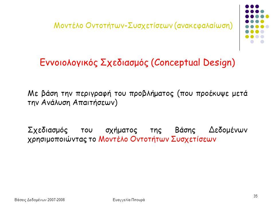 Βάσεις Δεδομένων 2007-2008Ευαγγελία Πιτουρά 35 Μοντέλο Οντοτήτων-Συσχετίσεων (ανακεφαλαίωση) Εννοιoλογικός Σχεδιασμός (Conceptual Design) Με βάση την