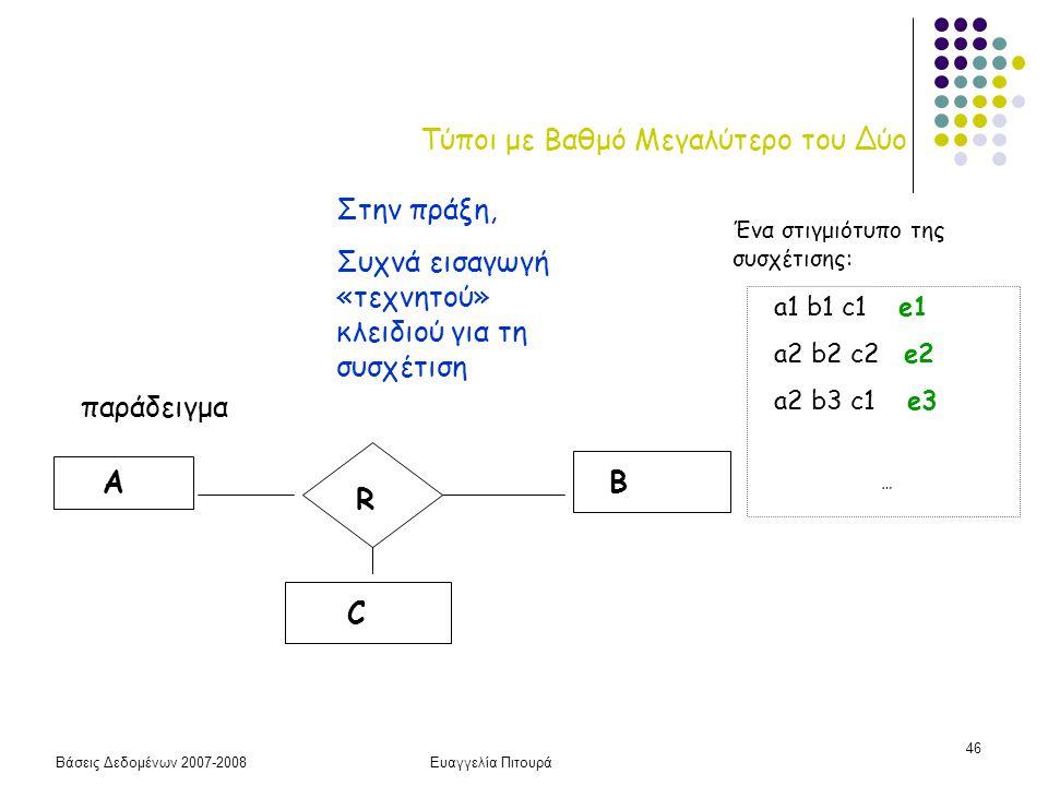 Βάσεις Δεδομένων 2007-2008Ευαγγελία Πιτουρά 46 Τύποι με Βαθμό Μεγαλύτερο του Δύο παράδειγμα R AB C a1 b1 c1 e1 a2 b2 c2 e2 a2 b3 c1 e3 … Ένα στιγμιότυ