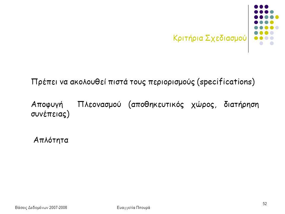 Βάσεις Δεδομένων 2007-2008Ευαγγελία Πιτουρά 52 Κριτήρια Σχεδιασμού Πρέπει να ακολουθεί πιστά τους περιορισμούς (specifications) Αποφυγή Πλεονασμού (απ