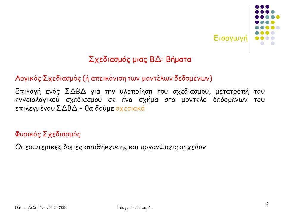 Βάσεις Δεδομένων 2005-2006Ευαγγελία Πιτουρά 3 Εισαγωγή Σχεδιασμός μιας ΒΔ: Βήματα Λογικός Σχεδιασμός (ή απεικόνιση των μοντέλων δεδομένων) Επιλογή ενό