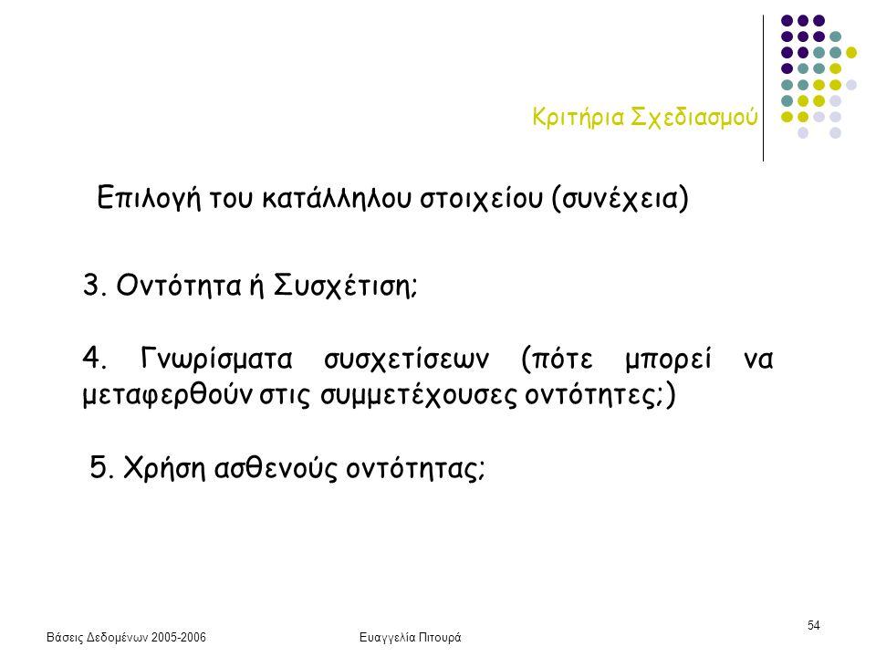 Βάσεις Δεδομένων 2005-2006Ευαγγελία Πιτουρά 54 Κριτήρια Σχεδιασμού Επιλογή του κατάλληλου στοιχείου (συνέχεια) 3. Οντότητα ή Συσχέτιση; 4. Γνωρίσματα