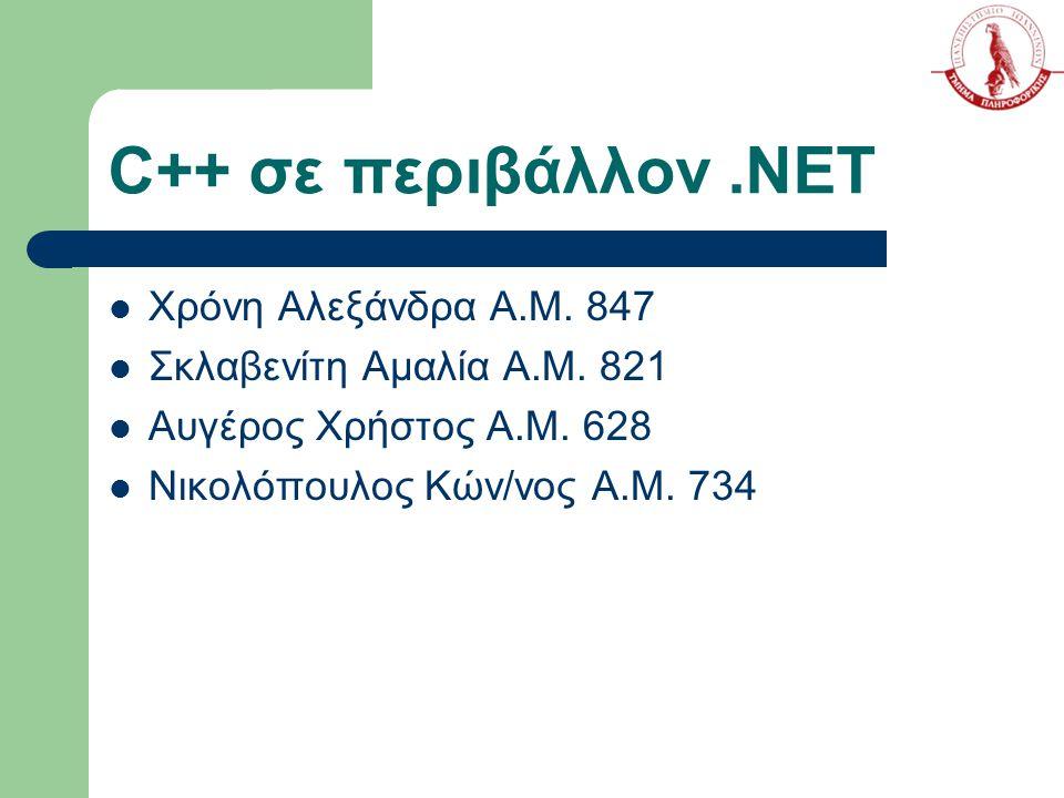C++ σε περιβάλλον.NET Χρόνη Αλεξάνδρα Α.Μ. 847 Σκλαβενίτη Αμαλία Α.Μ. 821 Αυγέρος Χρήστος Α.Μ. 628 Νικολόπουλος Κών/νος Α.Μ. 734