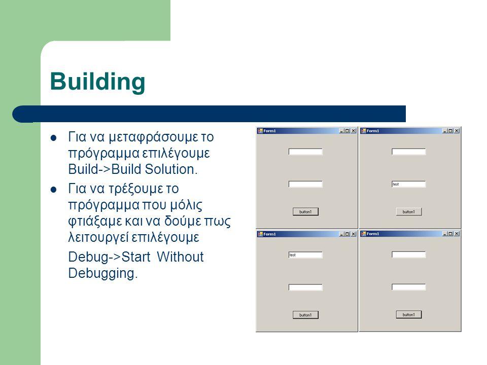 Building Για να μεταφράσουμε το πρόγραμμα επιλέγουμε Build->Build Solution. Για να τρέξουμε το πρόγραμμα που μόλις φτιάξαμε και να δούμε πως λειτουργε