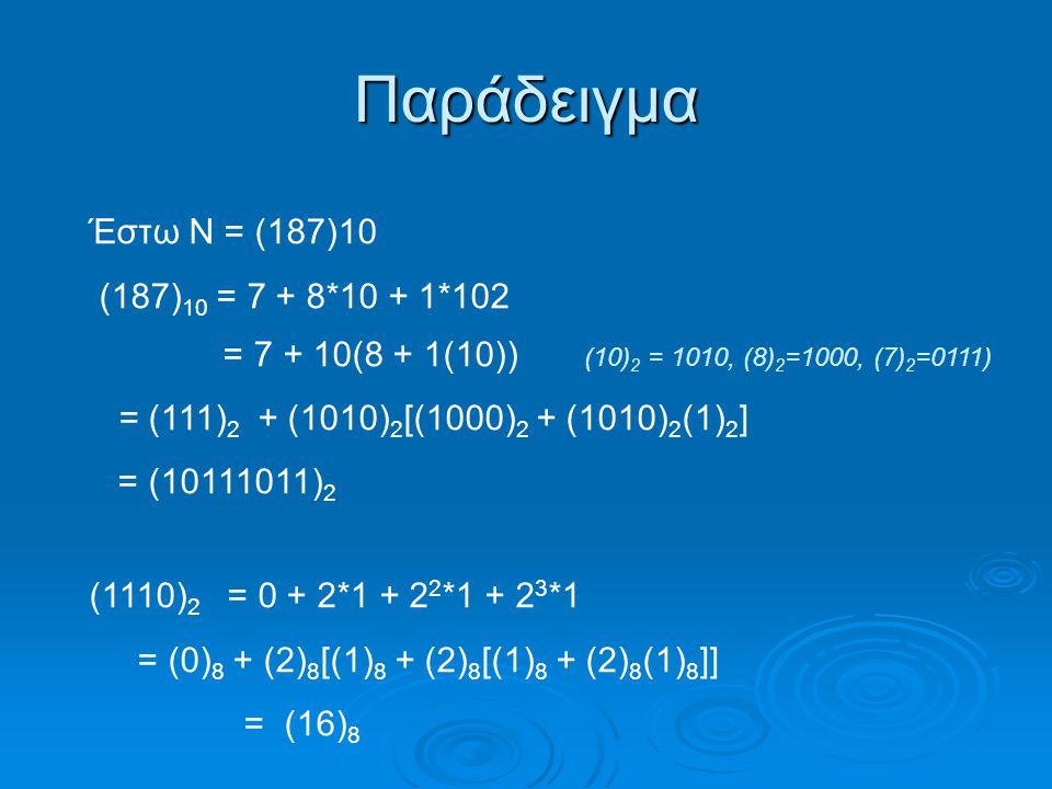 Παράδειγμα Έστω Ν = (187)10 (187) 10 = 7 + 8*10 + 1*102 = 7 + 10(8 + 1(10)) (10) 2 = 1010, (8) 2 =1000, (7) 2 =0111) = (111) 2 + (1010) 2 [(1000) 2 + (1010) 2 (1) 2 ] = (10111011) 2 (1110) 2 = 0 + 2*1 + 2 2 *1 + 2 3 *1 = (0) 8 + (2) 8 [(1) 8 + (2) 8 [(1) 8 + (2) 8 (1) 8 ]] = (16) 8