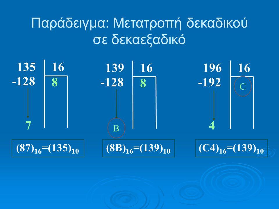 Παράδειγμα: Μετατροπή δεκαδικού σε δεκαεξαδικό 16135 8 -128 7 (87) 16 =(135) 10 16139 8 -128 11 (8B) 16 =(139) 10 16196 12 -192 4 (C4) 16 =(139) 10 B C