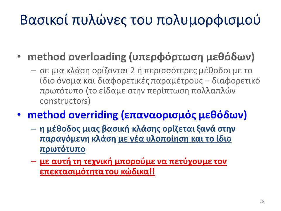 Βασικοί πυλώνες του πολυμορφισμού method overloading (υπερφόρτωση μεθόδων) – σε μια κλάση ορίζονται 2 ή περισσότερες μέθοδοι με το ίδιο όνομα και διαφ