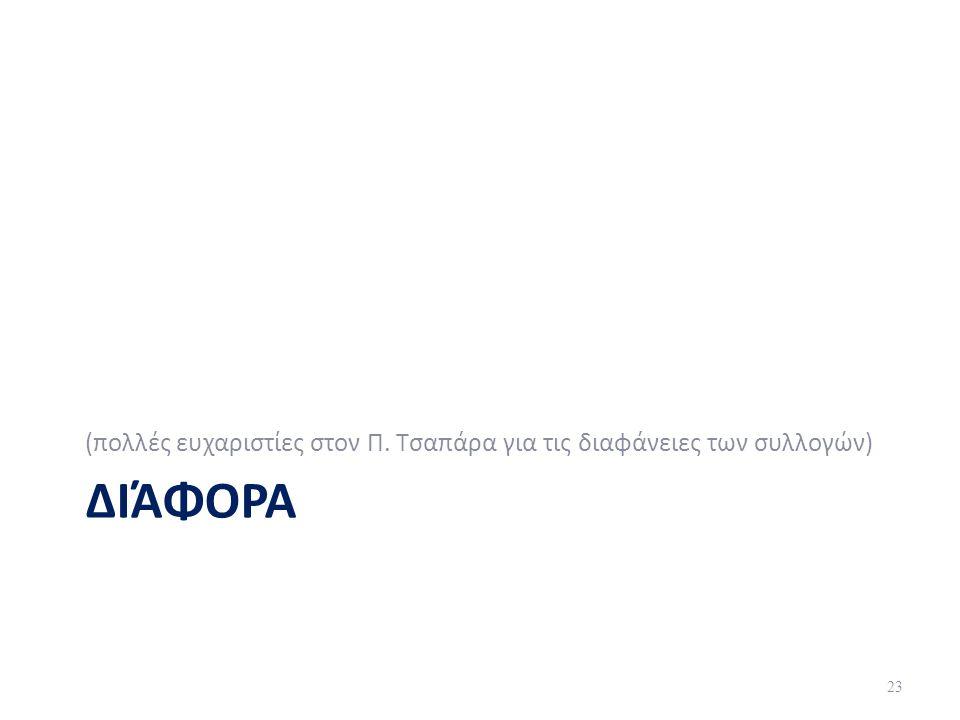 ΔΙΆΦΟΡΑ (πολλές ευχαριστίες στον Π. Τσαπάρα για τις διαφάνειες των συλλογών) 23
