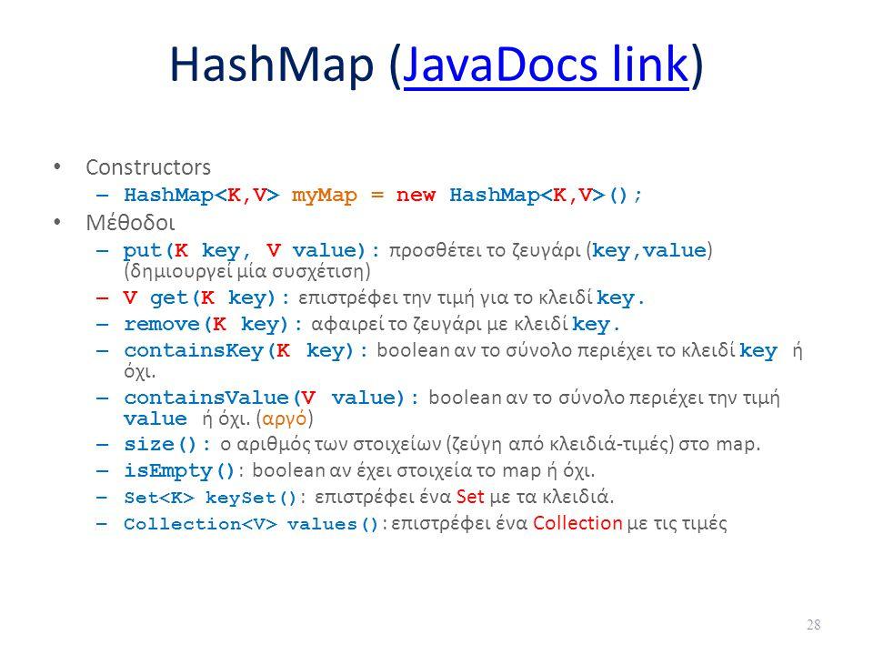 HashMap (JavaDocs link)JavaDocs link Constructors – HashMap myMap = new HashMap (); Μέθοδοι – put(K key, V value): προσθέτει το ζευγάρι ( key,value )