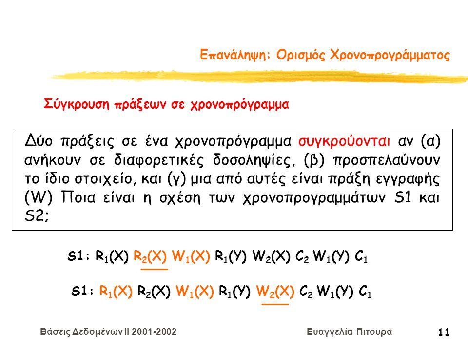 Βάσεις Δεδομένων II 2001-2002 Ευαγγελία Πιτουρά 11 Επανάληψη: Ορισμός Χρονοπρογράμματος S1: R 1 (X) R 2 (X) W 1 (X) R 1 (Y) W 2 (X) C 2 W 1 (Y) C 1 Σύ