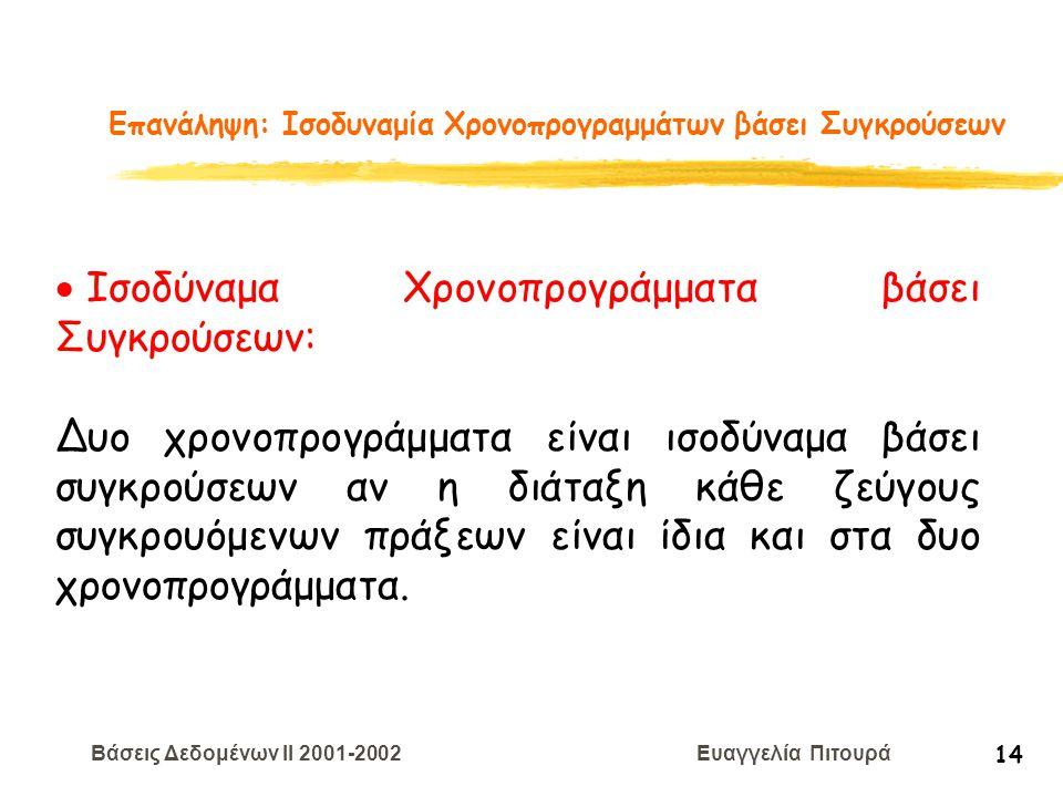 Βάσεις Δεδομένων II 2001-2002 Ευαγγελία Πιτουρά 14 Επανάληψη: Ισοδυναμία Χρονοπρογραμμάτων βάσει Συγκρούσεων  Ισοδύναμα Χρονοπρογράμματα βάσει Συγκρο