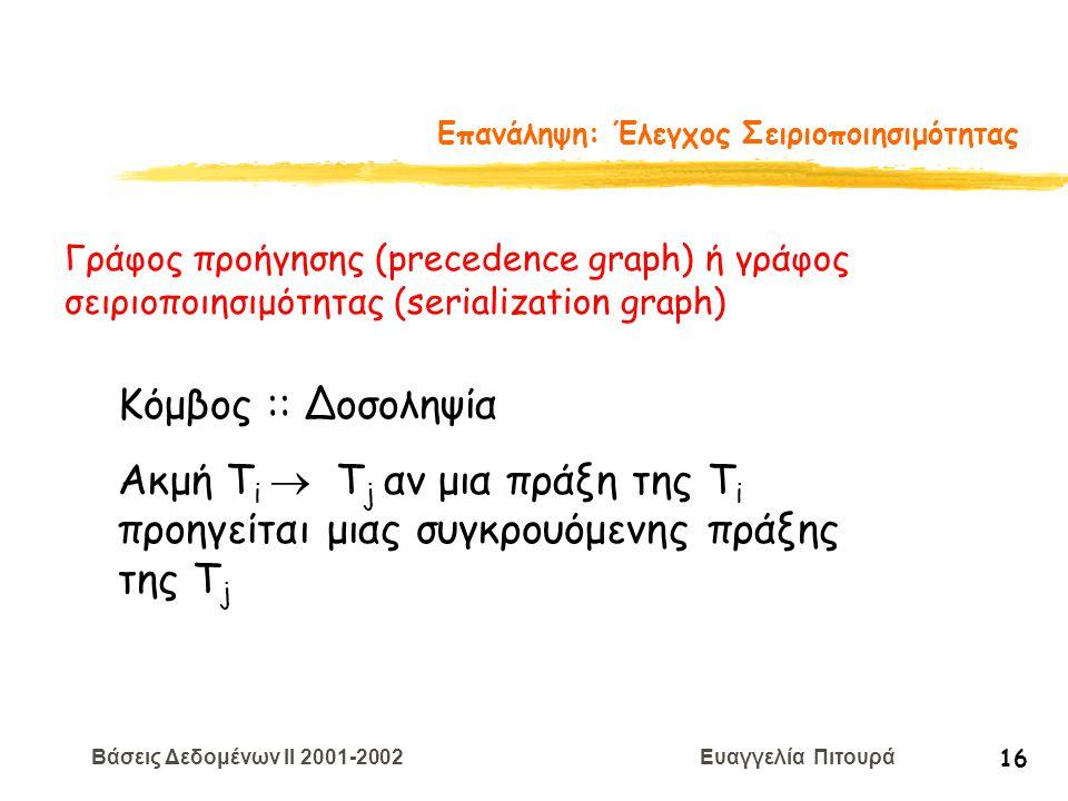 Βάσεις Δεδομένων II 2001-2002 Ευαγγελία Πιτουρά 16 Επανάληψη: Έλεγχος Σειριοποιησιμότητας Γράφος προήγησης (precedence graph) ή γράφος σειριοποιησιμότ