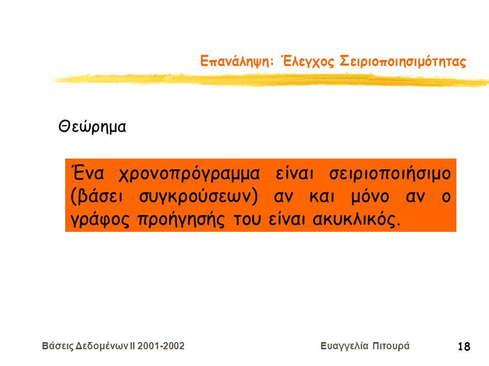 Βάσεις Δεδομένων II 2001-2002 Ευαγγελία Πιτουρά 18 Επανάληψη: Έλεγχος Σειριοποιησιμότητας Θεώρημα Ένα χρονοπρόγραμμα είναι σειριοποιήσιμο (βάσει συγκρ
