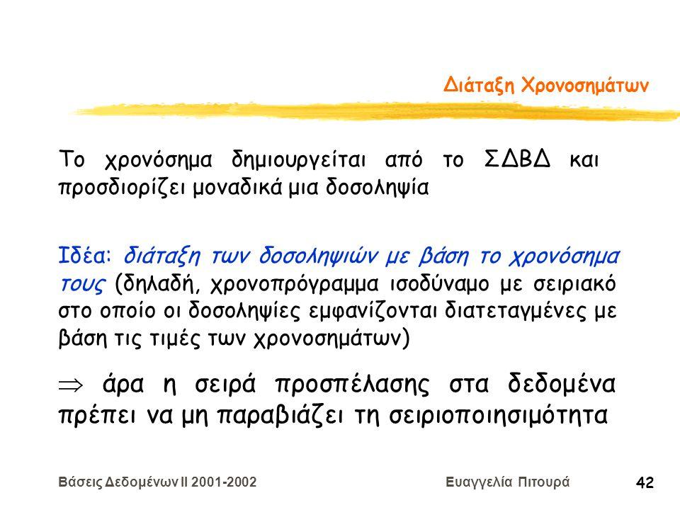 Βάσεις Δεδομένων II 2001-2002 Ευαγγελία Πιτουρά 42 Διάταξη Χρονοσημάτων Το χρονόσημα δημιουργείται από το ΣΔΒΔ και προσδιορίζει μοναδικά μια δοσοληψία