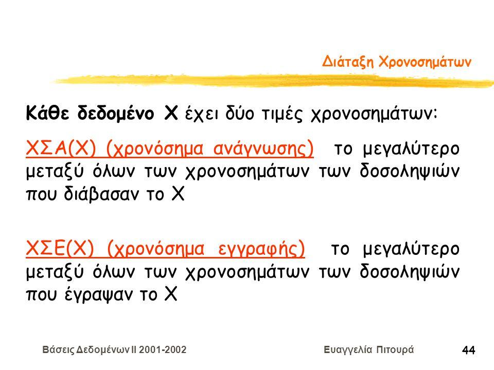 Βάσεις Δεδομένων II 2001-2002 Ευαγγελία Πιτουρά 44 Διάταξη Χρονοσημάτων Κάθε δεδομένο Χ έχει δύο τιμές χρονοσημάτων: ΧΣΑ(Χ) (χρονόσημα ανάγνωσης) το μ