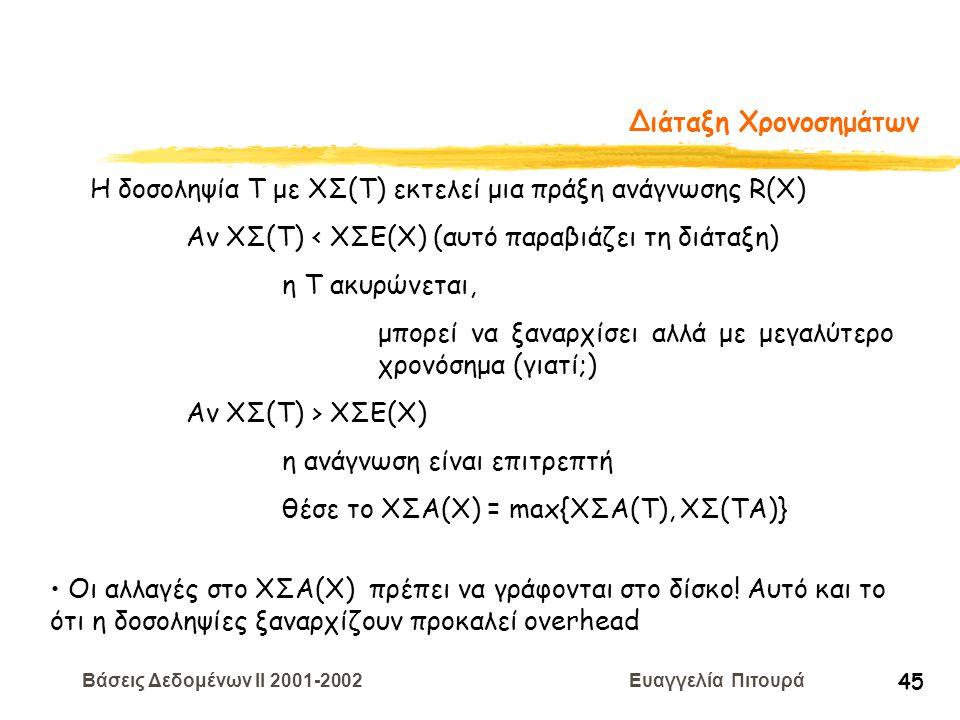 Βάσεις Δεδομένων II 2001-2002 Ευαγγελία Πιτουρά 45 Διάταξη Χρονοσημάτων Η δοσοληψία T με ΧΣ(Τ) εκτελεί μια πράξη ανάγνωσης R(X) Αν ΧΣ(Τ) < ΧΣE(Χ) (αυτ