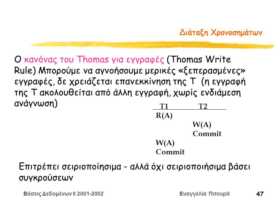 Βάσεις Δεδομένων II 2001-2002 Ευαγγελία Πιτουρά 47 Διάταξη Χρονοσημάτων T1 T2 R(A) W(A) Commit W(A) Commit Ο κανόνας του Thomas για εγγραφές (Thomas W
