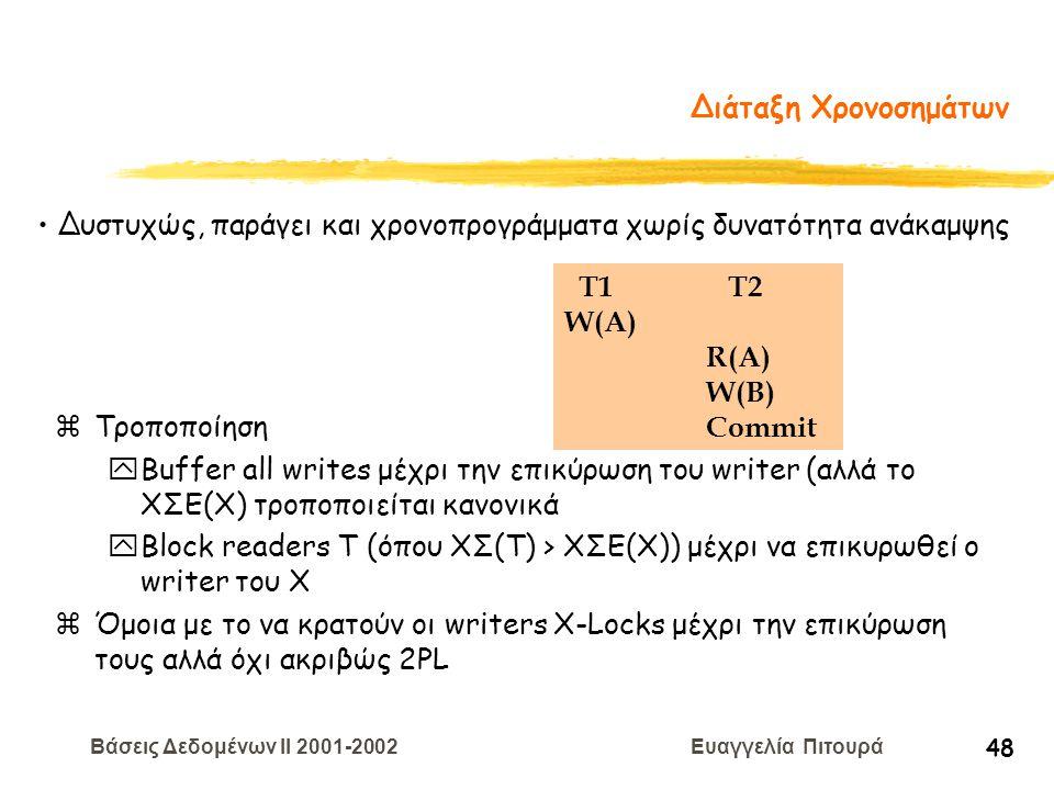Βάσεις Δεδομένων II 2001-2002 Ευαγγελία Πιτουρά 48 Διάταξη Χρονοσημάτων zΤροποποίηση yBuffer all writes μέχρι την επικύρωση του writer (αλλά το ΧΣΕ(Χ)
