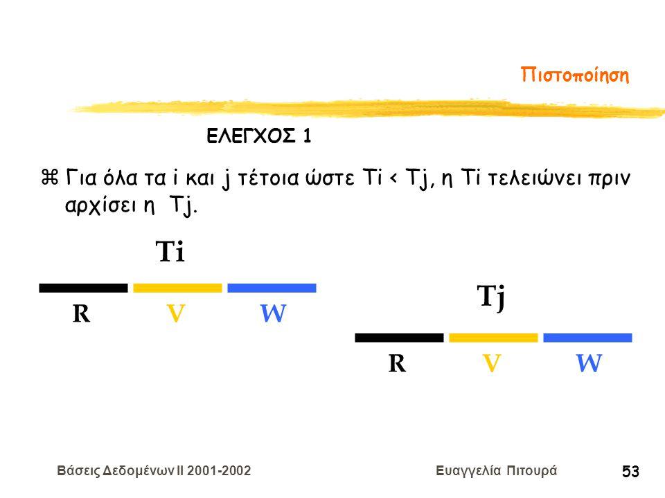 Βάσεις Δεδομένων II 2001-2002 Ευαγγελία Πιτουρά 53 Πιστοποίηση zΓια όλα τα i και j τέτοια ώστε Ti < Tj, η Ti τελειώνει πριν αρχίσει η Tj. Ti Tj RVW RV