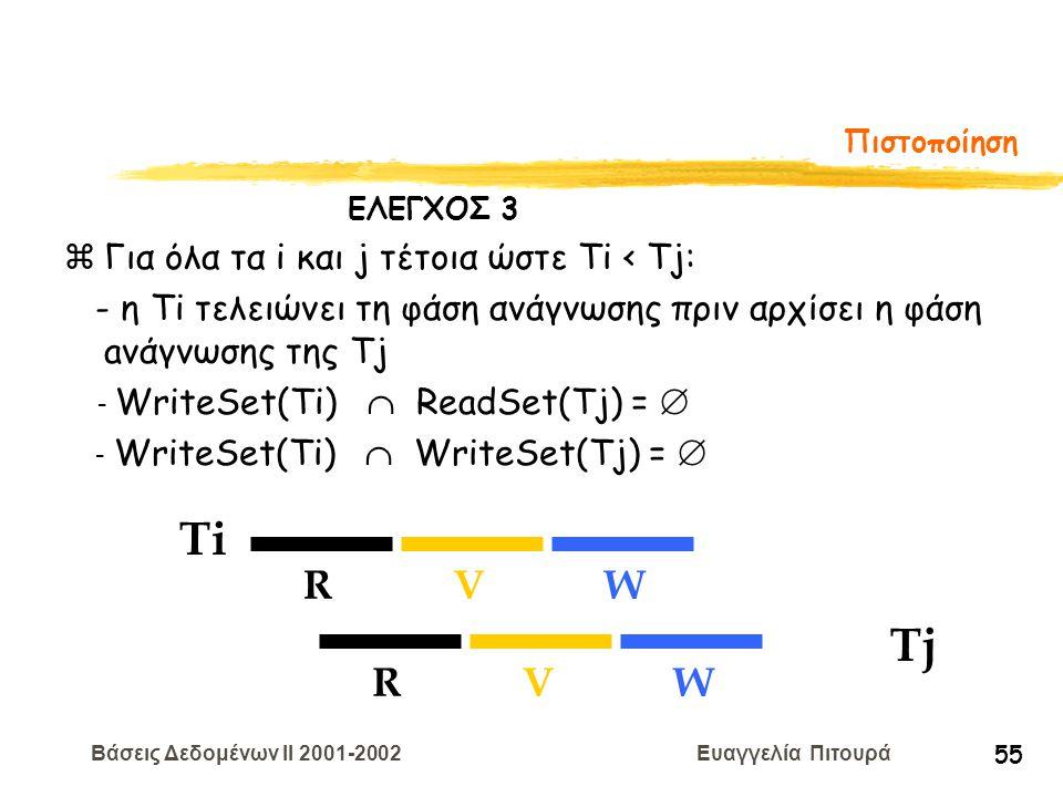 Βάσεις Δεδομένων II 2001-2002 Ευαγγελία Πιτουρά 55 Πιστοποίηση Ti RVW Tj RVW zΓια όλα τα i και j τέτοια ώστε Ti < Tj: - η Τi τελειώνει τη φάση ανάγνωσ
