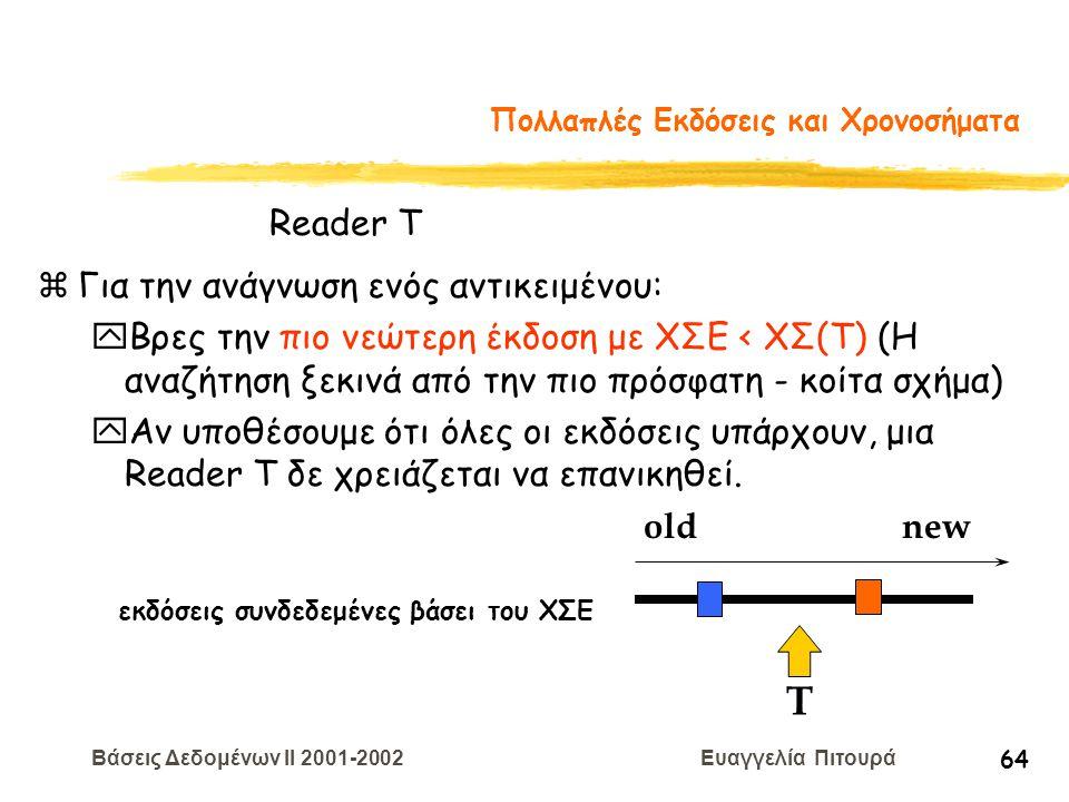 Βάσεις Δεδομένων II 2001-2002 Ευαγγελία Πιτουρά 64 Πολλαπλές Εκδόσεις και Χρονοσήματα zΓια την ανάγνωση ενός αντικειμένου: yΒρες την πιο νεώτερη έκδοσ