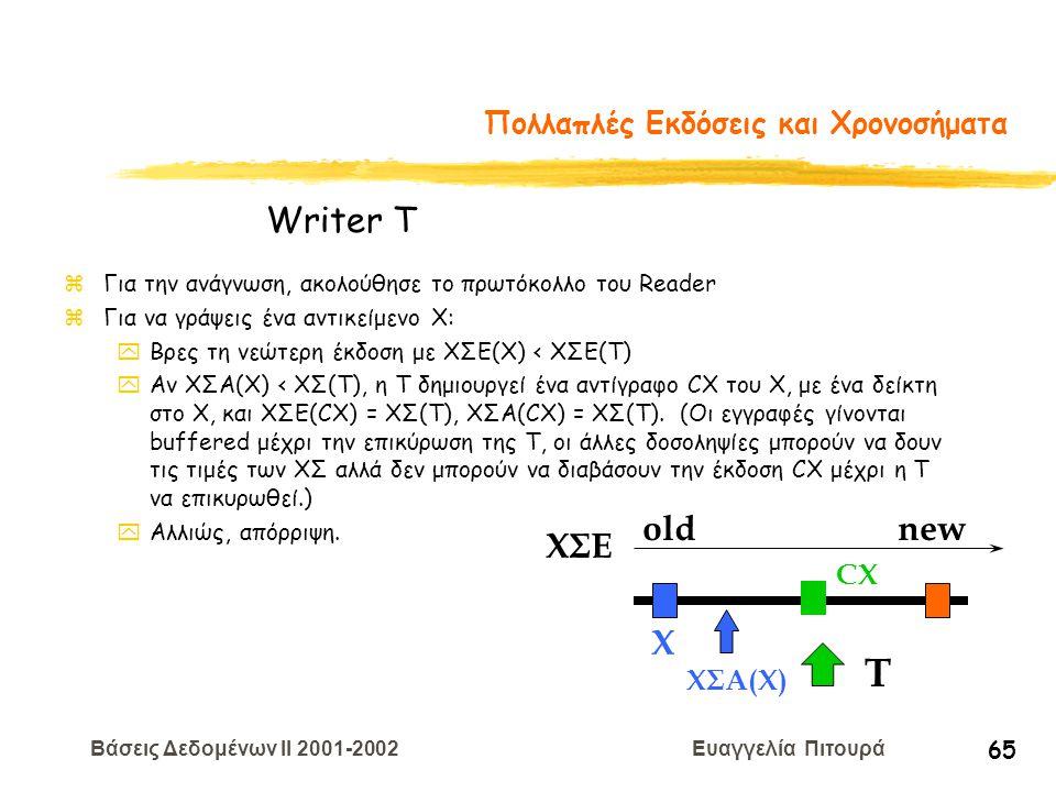 Βάσεις Δεδομένων II 2001-2002 Ευαγγελία Πιτουρά 65 Πολλαπλές Εκδόσεις και Χρονοσήματα zΓια την ανάγνωση, ακολούθησε το πρωτόκολλο του Reader zΓια να γ