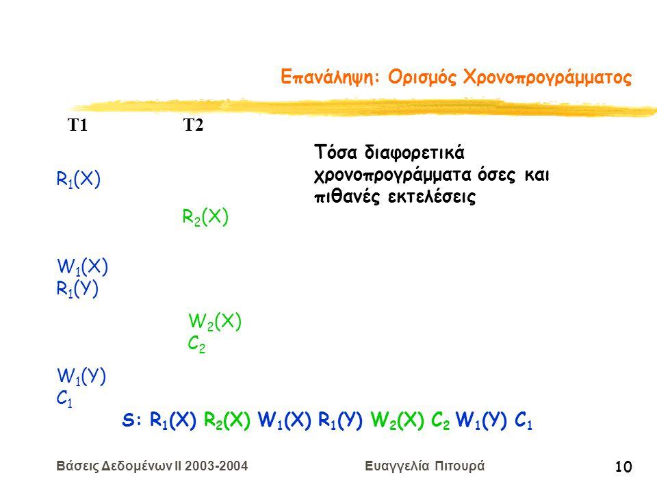 Βάσεις Δεδομένων II 2003-2004 Ευαγγελία Πιτουρά 10 Επανάληψη: Ορισμός Χρονοπρογράμματος R 1 (X) W 2 (X) C 2 T1 T2 W 1 (X) R 1 (Y) R 2 (X) W 1 (Y) C 1 S: R 1 (X) R 2 (X) W 1 (X) R 1 (Y) W 2 (X) C 2 W 1 (Y) C 1 Τόσα διαφορετικά χρονοπρογράμματα όσες και πιθανές εκτελέσεις