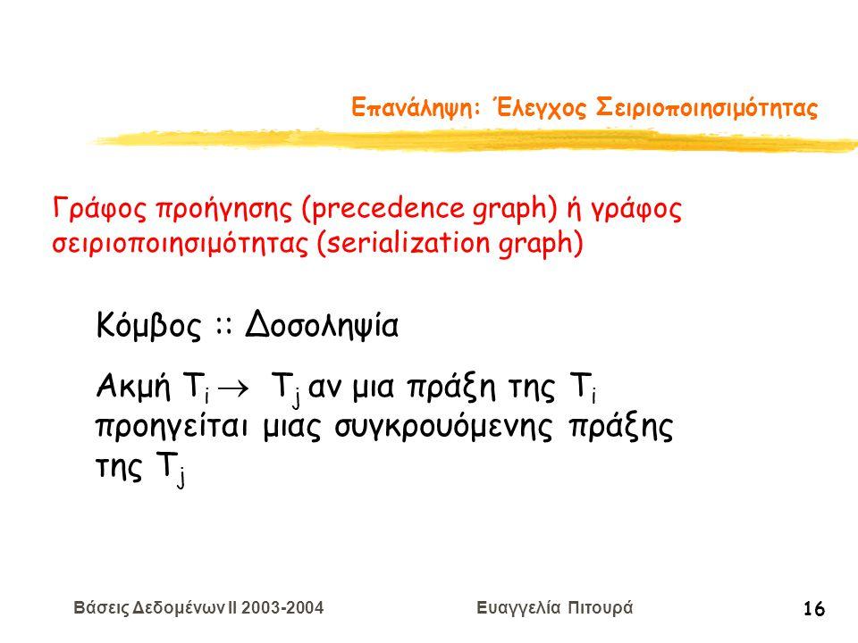 Βάσεις Δεδομένων II 2003-2004 Ευαγγελία Πιτουρά 16 Επανάληψη: Έλεγχος Σειριοποιησιμότητας Γράφος προήγησης (precedence graph) ή γράφος σειριοποιησιμότητας (serialization graph) Κόμβος :: Δοσοληψία Ακμή T i  T j αν μια πράξη της T i προηγείται μιας συγκρουόμενης πράξης της Τ j