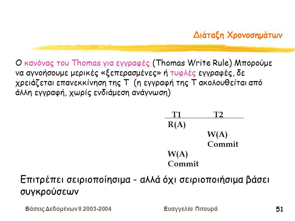 Βάσεις Δεδομένων II 2003-2004 Ευαγγελία Πιτουρά 51 Διάταξη Χρονοσημάτων T1 T2 R(A) W(A) Commit W(A) Commit Ο κανόνας του Thomas για εγγραφές (Thomas Write Rule) Μπορούμε να αγνοήσουμε μερικές «ξεπερασμένες» ή τυφλές εγγραφές, δε χρειάζεται επανεκκίνηση της Τ (η εγγραφή της Τ ακολουθείται από άλλη εγγραφή, χωρίς ενδιάμεση ανάγνωση) Επιτρέπει σειριοποίησιμα - αλλά όχι σειριοποιήσιμα βάσει συγκρούσεων