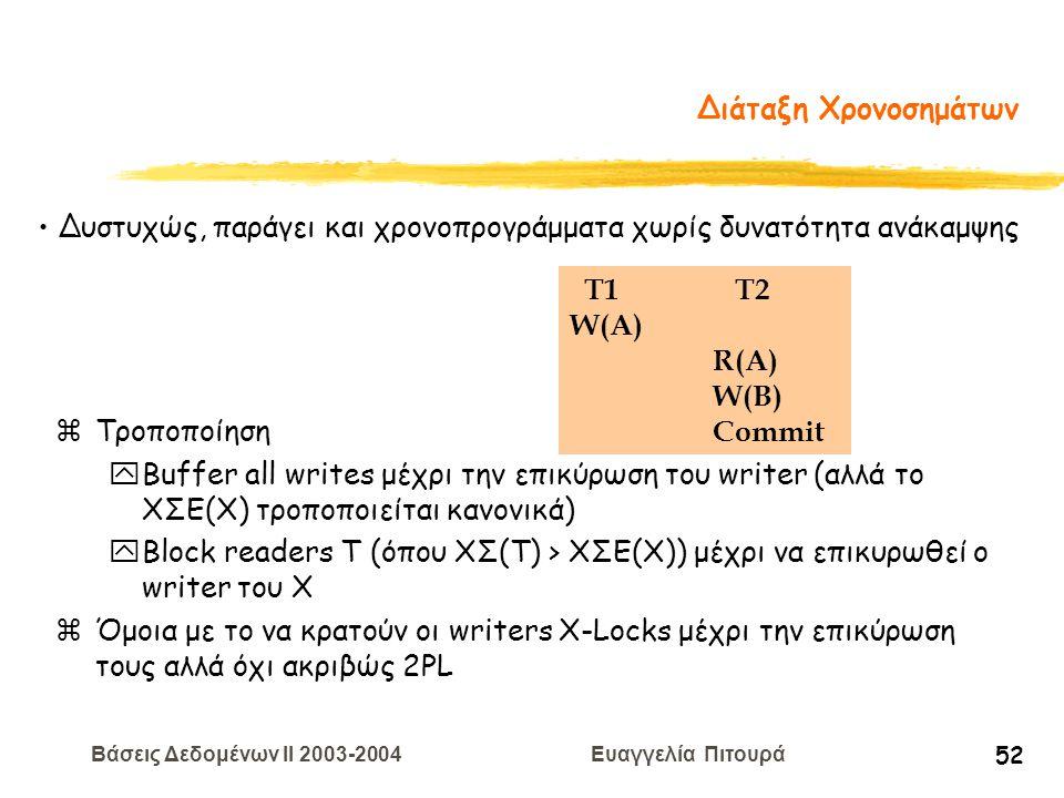 Βάσεις Δεδομένων II 2003-2004 Ευαγγελία Πιτουρά 52 Διάταξη Χρονοσημάτων zΤροποποίηση yBuffer all writes μέχρι την επικύρωση του writer (αλλά το ΧΣΕ(Χ) τροποποιείται κανονικά) yBlock readers T (όπου ΧΣ(T) > ΧΣΕ(Χ)) μέχρι να επικυρωθεί ο writer του Χ zΌμοια με το να κρατούν οι writers X-Locks μέχρι την επικύρωση τους αλλά όχι ακριβώς 2PL T1 T2 W(A) R(A) W(B) Commit Δυστυχώς, παράγει και χρονοπρογράμματα χωρίς δυνατότητα ανάκαμψης