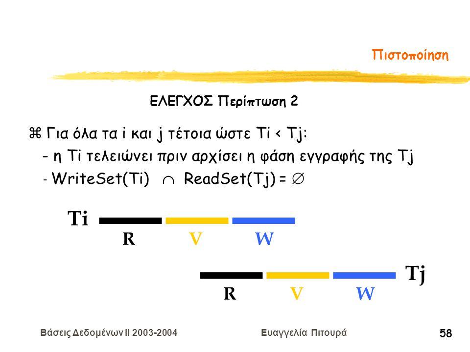 Βάσεις Δεδομένων II 2003-2004 Ευαγγελία Πιτουρά 58 Πιστοποίηση Ti RVW Tj RVW zΓια όλα τα i και j τέτοια ώστε Ti < Tj: - η Τi τελειώνει πριν αρχίσει η φάση εγγραφής της Tj - WriteSet(Ti)  ReadSet(Tj) =  ΕΛΕΓΧΟΣ Περίπτωση 2