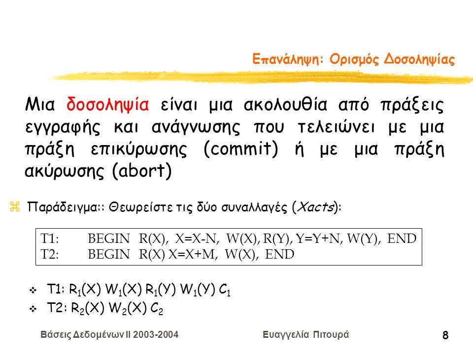 Βάσεις Δεδομένων II 2003-2004 Ευαγγελία Πιτουρά 59 Πιστοποίηση Ti RVW Tj RVW zΓια όλα τα i και j τέτοια ώστε Ti < Tj: - η Τi τελειώνει τη φάση ανάγνωσης πριν αρχίσει η φάση aνάγνωσης της Τj - WriteSet(Ti)  ReadSet(Tj) =  - WriteSet(Ti)  WriteSet(Tj) =  ΕΛΕΓΧΟΣ Περίπτωση 3