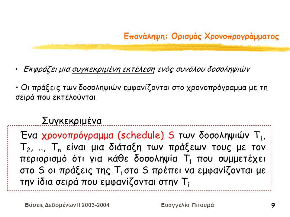Βάσεις Δεδομένων II 2003-2004 Ευαγγελία Πιτουρά 20 Επεξεργασία Δοσοληψιών Παράδειγμα Χαρακτηρίστε καθένα από τα παρακάτω χρονοπρογράμματα: σειριοποιήσιμα βάσει συγκρούσεων, σειριοποιήσιμα βάσει όψεων με δυνατότητα ανάκαμψης, χωρίς διάδοση ανακλήσεων, αυστηρά R 1 (X) W 2 (X) W 1 (X) A 2 C 1 R 1 (X) W 2 (X) C 2 W 1 (X) C 1 R 3 (X) C 3 Σημείωση: σειριοποιήσιμα βάσει συγκρούσεων (χρήση του θεωρήματος) σειριοποιήσιμα βάσει όψεων (έλεγχος με πιθανά σειριακά)