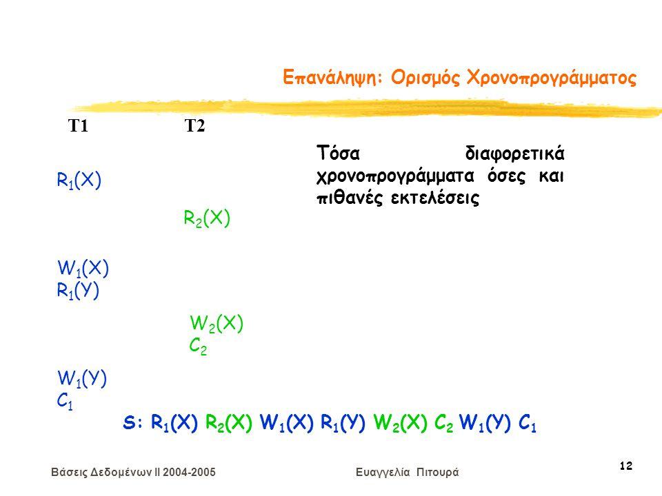 Βάσεις Δεδομένων II 2004-2005 Ευαγγελία Πιτουρά 12 Επανάληψη: Ορισμός Χρονοπρογράμματος R 1 (X) W 2 (X) C 2 T1 T2 W 1 (X) R 1 (Y) R 2 (X) W 1 (Y) C 1 S: R 1 (X) R 2 (X) W 1 (X) R 1 (Y) W 2 (X) C 2 W 1 (Y) C 1 Τόσα διαφορετικά χρονοπρογράμματα όσες και πιθανές εκτελέσεις