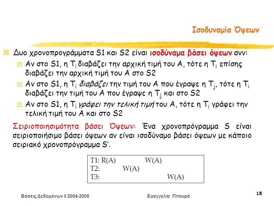 Βάσεις Δεδομένων II 2004-2005 Ευαγγελία Πιτουρά 15 Ισοδυναμία Όψεων zΔυο χρονοπρογράμματα S1 και S2 είναι ισοδύναμα βάσει όψεων ανν: y Αν στο S1, η T i διαβάζει την αρχική τιμή του A, τότε η T i επίσης διαβάζει την αρχική τιμή του A στο S2 y Αν στο S1, η T i διαβάζει την τιμή του A που έγραψε η T j, τότε η T i διαβάζει την τιμή του A που έγραψε η T j και στο S2 y Αν στο S1, η T i γράφει την τελική τιμή του A, τότε η T i γράφει την τελική τιμή του A και στο S2 T1: R(A) W(A) T2: W(A) T3: W(A) Σειριοποιησιμότητα βάσει Όψεων: Ένα χρονοπρόγραμμα S είναι σειριοποιήσιμο βάσει όψεων αν είναι ισοδύναμο βάσει όψεων με κάποιο σειριακό χρονοπρόγραμμα S'.