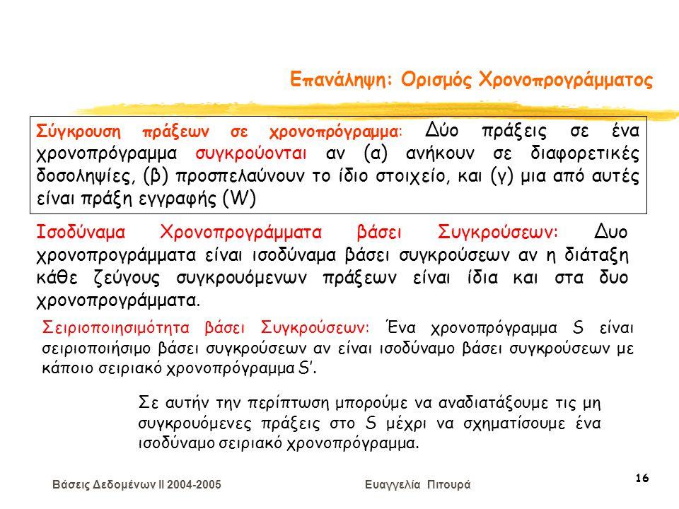 Βάσεις Δεδομένων II 2004-2005 Ευαγγελία Πιτουρά 16 Επανάληψη: Ορισμός Χρονοπρογράμματος Σύγκρουση πράξεων σε χρονοπρόγραμμα: Δύο πράξεις σε ένα χρονοπ