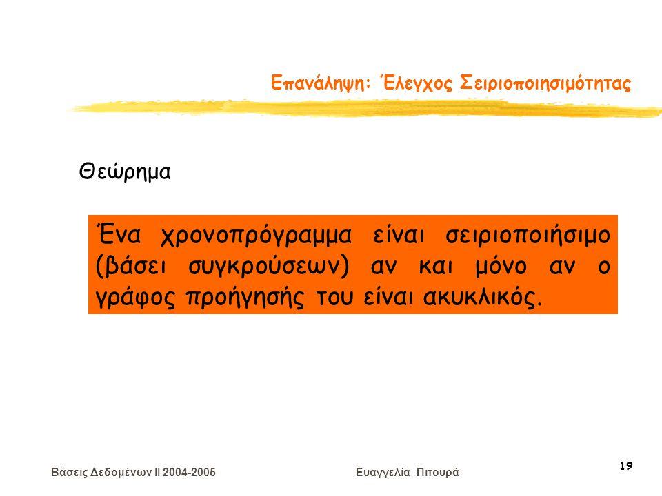 Βάσεις Δεδομένων II 2004-2005 Ευαγγελία Πιτουρά 19 Επανάληψη: Έλεγχος Σειριοποιησιμότητας Θεώρημα Ένα χρονοπρόγραμμα είναι σειριοποιήσιμο (βάσει συγκρούσεων) αν και μόνο αν ο γράφος προήγησής του είναι ακυκλικός.