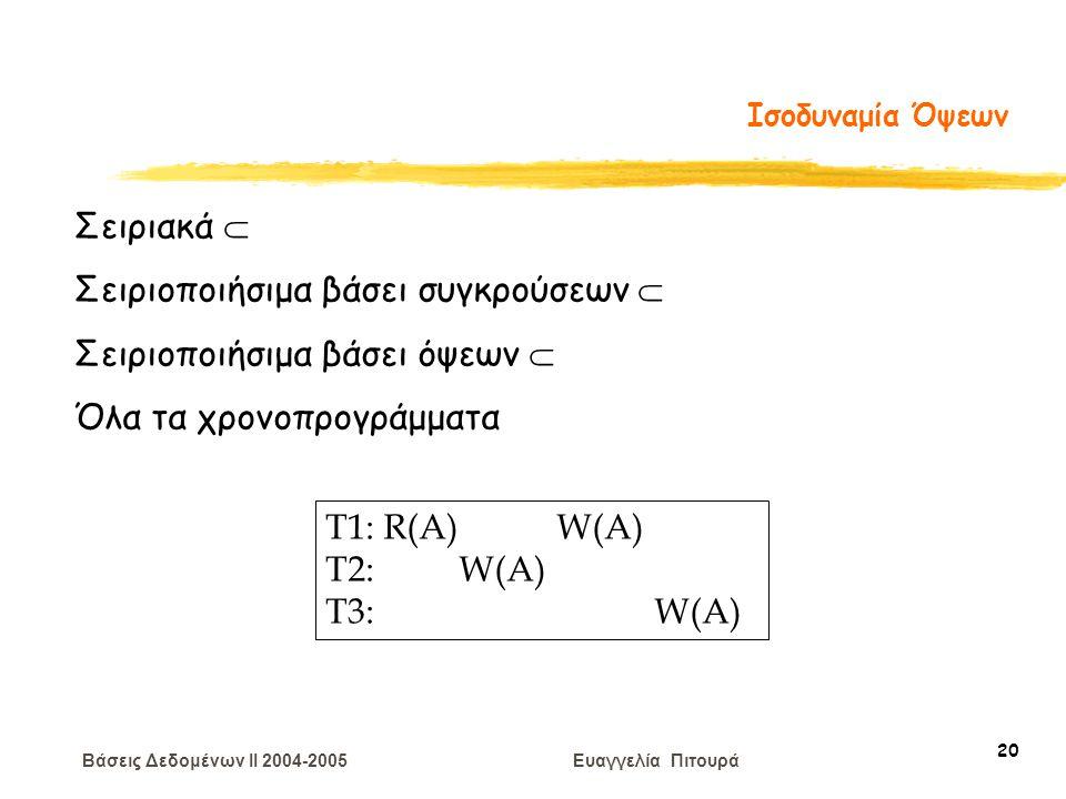 Βάσεις Δεδομένων II 2004-2005 Ευαγγελία Πιτουρά 20 Ισοδυναμία Όψεων T1: R(A) W(A) T2: W(A) T3: W(A) Σειριακά  Σειριοποιήσιμα βάσει συγκρούσεων  Σειριοποιήσιμα βάσει όψεων  Όλα τα χρονοπρογράμματα