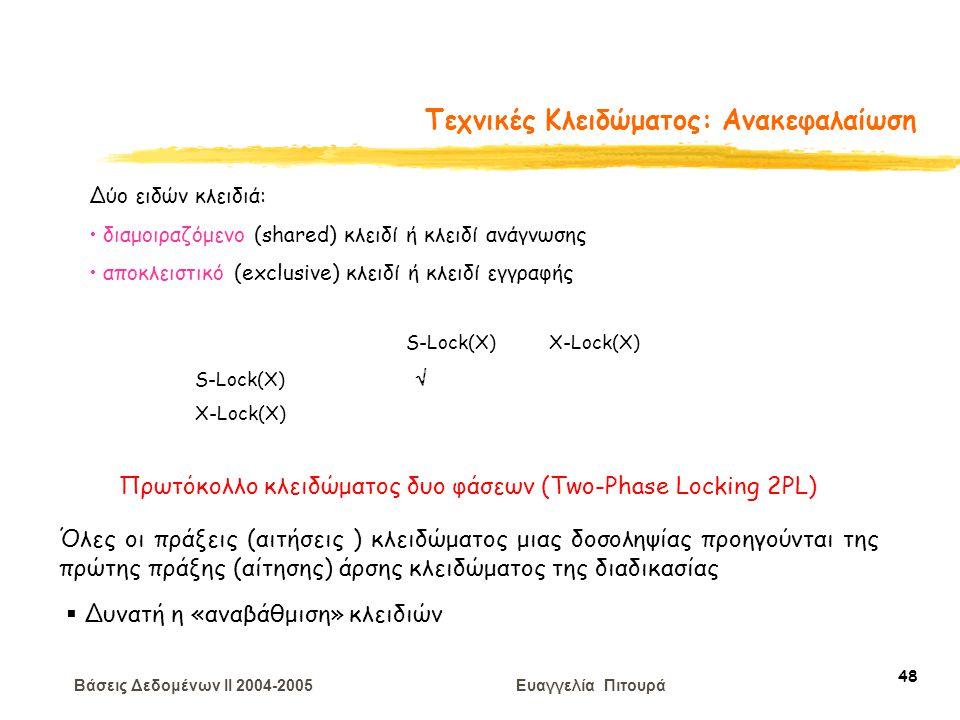 Βάσεις Δεδομένων II 2004-2005 Ευαγγελία Πιτουρά 48 Τεχνικές Κλειδώματος: Ανακεφαλαίωση Δύο ειδών κλειδιά: διαμοιραζόμενο (shared) κλειδί ή κλειδί ανάγνωσης αποκλειστικό (exclusive) κλειδί ή κλειδί εγγραφής S-Lock(X) X-Lock(X) S-Lock(X)  X-Lock(X) Πρωτόκολλο κλειδώματος δυο φάσεων (Two-Phase Locking 2PL) Όλες οι πράξεις (αιτήσεις ) κλειδώματος μιας δοσοληψίας προηγούνται της πρώτης πράξης (αίτησης) άρσης κλειδώματος της διαδικασίας  Δυνατή η «αναβάθμιση» κλειδιών