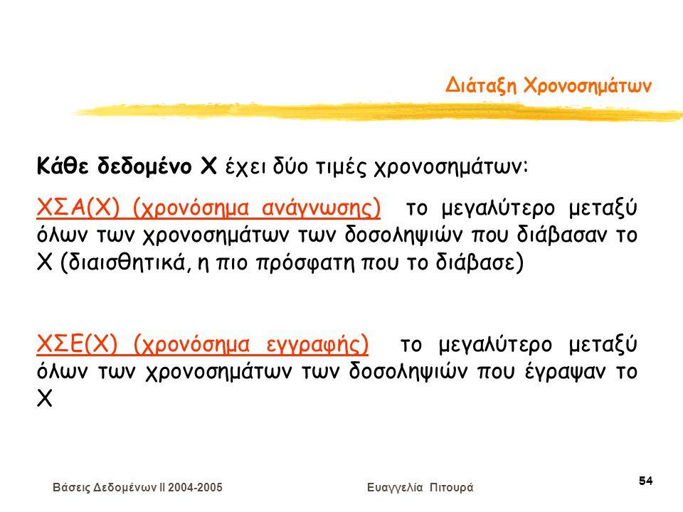 Βάσεις Δεδομένων II 2004-2005 Ευαγγελία Πιτουρά 54 Διάταξη Χρονοσημάτων Κάθε δεδομένο Χ έχει δύο τιμές χρονοσημάτων: ΧΣΑ(Χ) (χρονόσημα ανάγνωσης) το μ