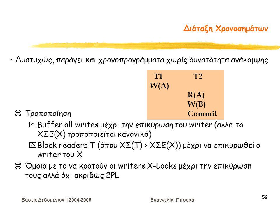 Βάσεις Δεδομένων II 2004-2005 Ευαγγελία Πιτουρά 59 Διάταξη Χρονοσημάτων zΤροποποίηση yBuffer all writes μέχρι την επικύρωση του writer (αλλά το ΧΣΕ(Χ) τροποποιείται κανονικά) yBlock readers T (όπου ΧΣ(T) > ΧΣΕ(Χ)) μέχρι να επικυρωθεί ο writer του Χ zΌμοια με το να κρατούν οι writers X-Locks μέχρι την επικύρωση τους αλλά όχι ακριβώς 2PL T1 T2 W(A) R(A) W(B) Commit Δυστυχώς, παράγει και χρονοπρογράμματα χωρίς δυνατότητα ανάκαμψης