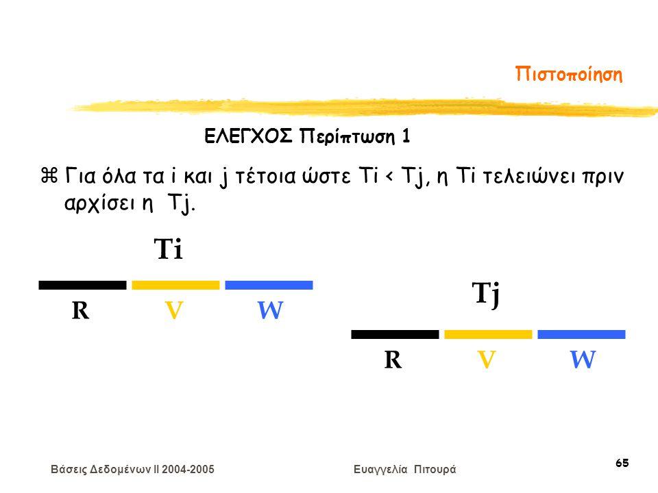 Βάσεις Δεδομένων II 2004-2005 Ευαγγελία Πιτουρά 65 Πιστοποίηση zΓια όλα τα i και j τέτοια ώστε Ti < Tj, η Ti τελειώνει πριν αρχίσει η Tj. Ti Tj RVW RV