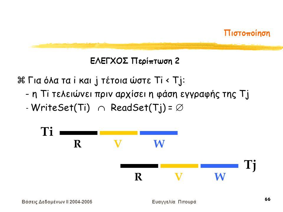 Βάσεις Δεδομένων II 2004-2005 Ευαγγελία Πιτουρά 66 Πιστοποίηση Ti RVW Tj RVW zΓια όλα τα i και j τέτοια ώστε Ti < Tj: - η Τi τελειώνει πριν αρχίσει η