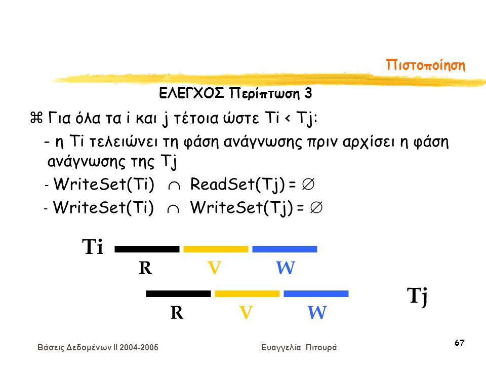 Βάσεις Δεδομένων II 2004-2005 Ευαγγελία Πιτουρά 67 Πιστοποίηση Ti RVW Tj RVW zΓια όλα τα i και j τέτοια ώστε Ti < Tj: - η Τi τελειώνει τη φάση ανάγνωσ