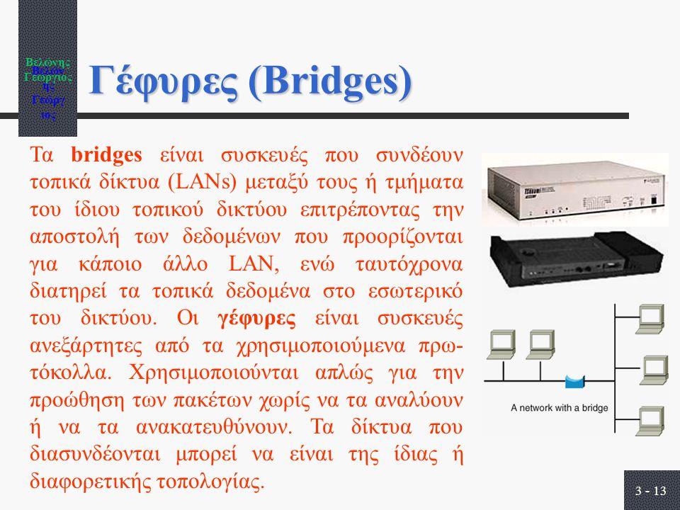 Βελώνης Γεώργιος 3 - 13 Γέφυρες (Bridges) Τα bridges είναι συσκευές που συνδέουν τοπικά δίκτυα (LANs) μεταξύ τους ή τμήματα του ίδιου τοπικού δικτύου επιτρέποντας την αποστολή των δεδομένων που προορίζονται για κάποιο άλλο LAN, ενώ ταυτόχρονα διατηρεί τα τοπικά δεδομένα στο εσωτερικό του δικτύου.